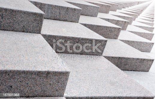 istock Infinite stairway, sideways into bright light 157501363