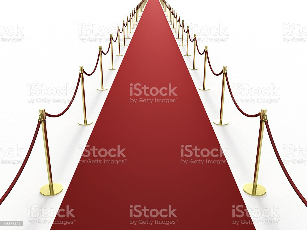 Infinitely long red carpet royalty-free stock photo