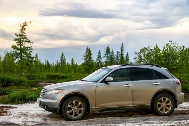 Infiniti FX35 Novyy Urengoy, Russia - June 23, 2018: Motor car Infiniti FX35 at the countryside. fx network stock pictures, royalty-free photos & images