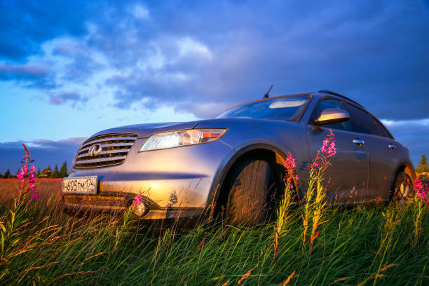 Infiniti FX35 Novyy Urengoy, Russia - July 21, 2018: Motor car Infiniti FX35 at the countryside. fx network stock pictures, royalty-free photos & images