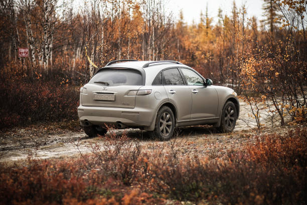 Infiniti FX35 Novyy Urengoy, Russia - September 22, 2018: Motor car Infiniti FX35 at the countryside. fx network stock pictures, royalty-free photos & images
