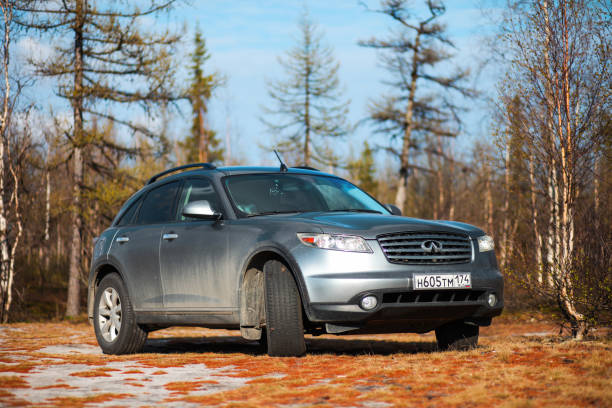 Infiniti FX35 Novyy Urengoy, Russia - June 16, 2019: Motor car Infiniti FX35 at the countryside. fx network stock pictures, royalty-free photos & images