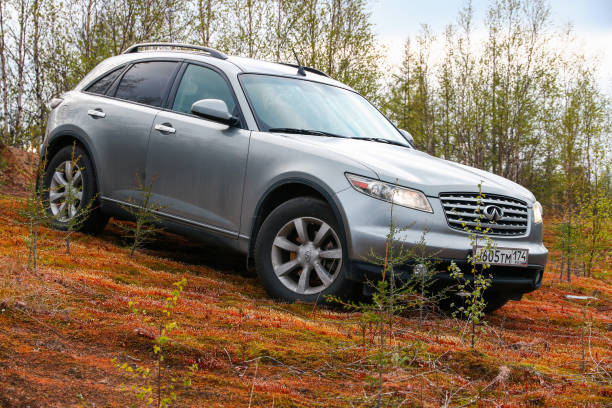 Infiniti FX35 Novyy Urengoy, Russia - June 22, 2019: Motor car Infiniti FX35 at the countryside. fx network stock pictures, royalty-free photos & images