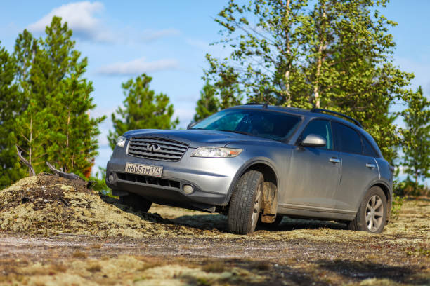 Infiniti FX35 Novyy Urengoy, Russia - August 11, 2019: Grey crossover Infiniti FX35 at the countryside. fx network stock pictures, royalty-free photos & images