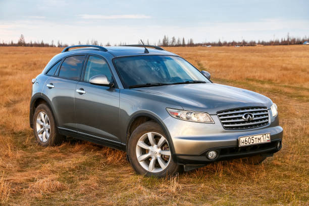 Infiniti FX35 Novyy Urengoy, Russia - May 19, 2020: Crossover Infiniti FX35 at the countryside. fx network stock pictures, royalty-free photos & images
