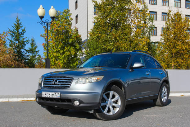 Infiniti FX35 Novyy Urengoy, Russia - September 5, 2020: Japanese premium crossover Infiniti FX35 in the city street. fx network stock pictures, royalty-free photos & images
