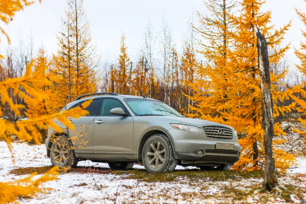 Infiniti FX35 NOVYY URENGOY, RUSSIA - SEPTEMBER 30, 2017: Motor car Infiniti FX35 at the countryside. fx network stock pictures, royalty-free photos & images