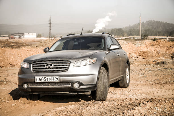 Infiniti FX35 Karabash, Russia - September 2, 2017: Motor car Infiniti FX35 at the countryside. fx network stock pictures, royalty-free photos & images