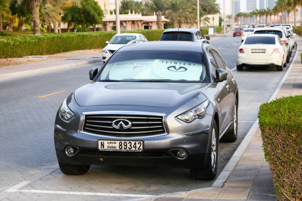 Infiniti QX70 Dubai, UAE - November 16, 2018: Taxi car Infiniti QX70 in the city street. fx network stock pictures, royalty-free photos & images