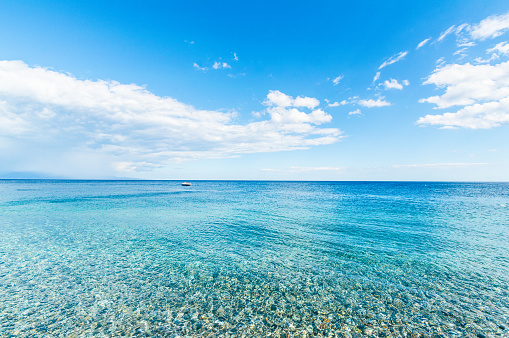 A panoramic view of the infinity mediterranea sea in front of the little towns.