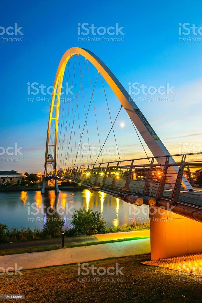 Infinity Bridge at night In Stockton-on-Tees, UK stock photo