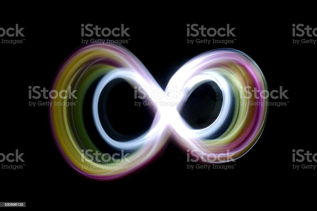 Infinity light painting stock photo