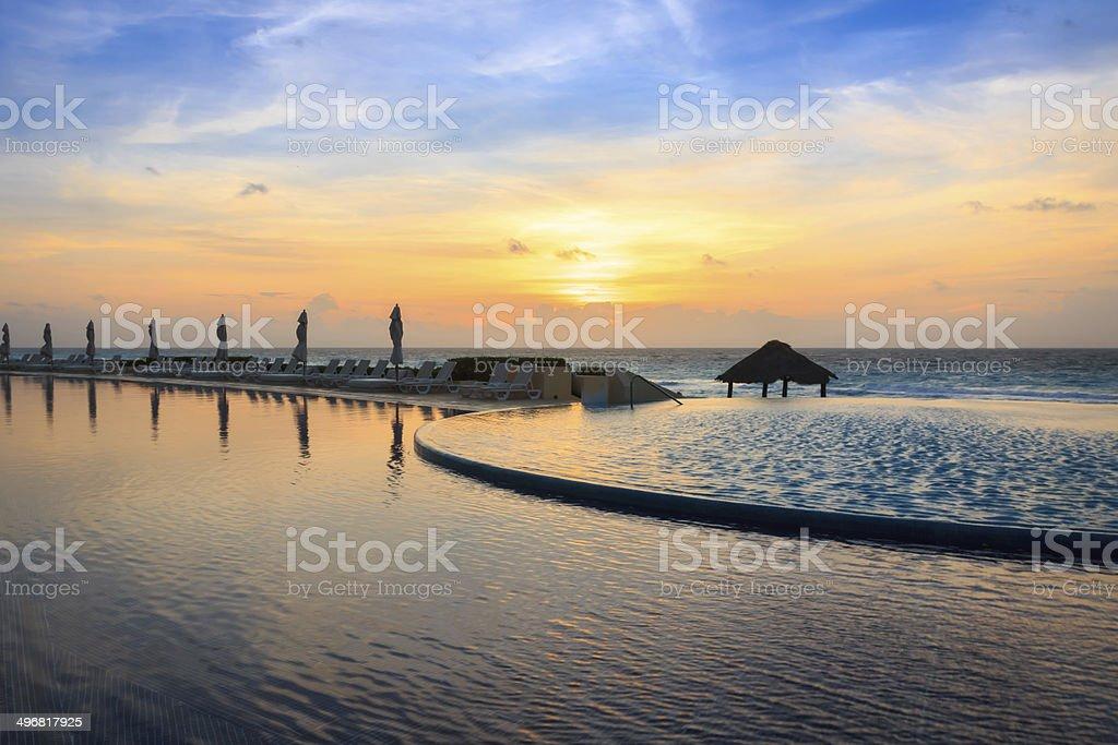 Infinity Pool at Sunrise stock photo
