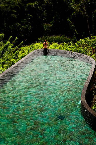 Infinity Pool Edge in Ubud Bali stock photo