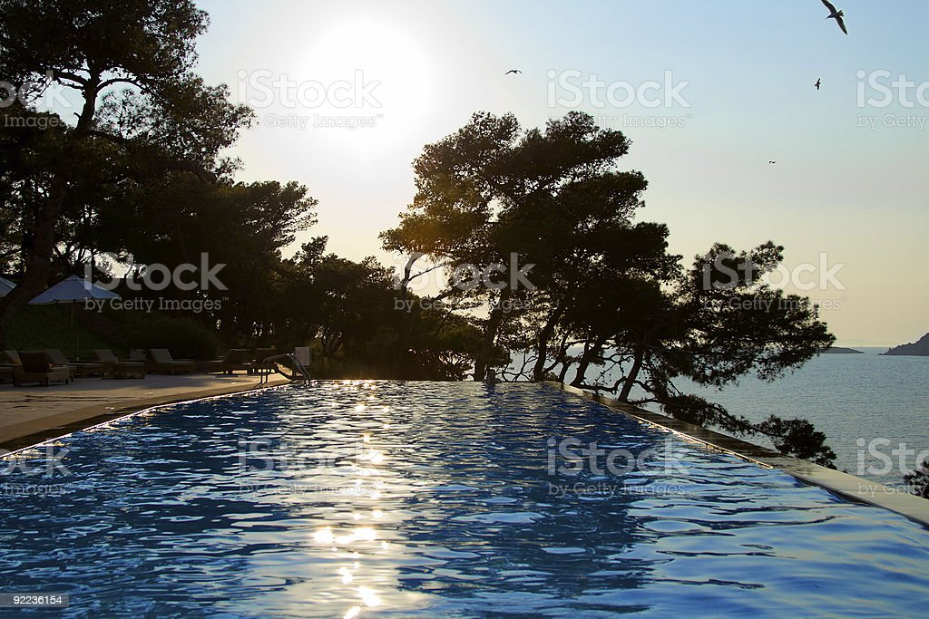 Infinity pool - evening royalty-free stock photo