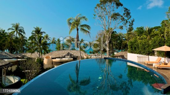 Stunning infinity pool with breathtaking ocean views of tropical island.