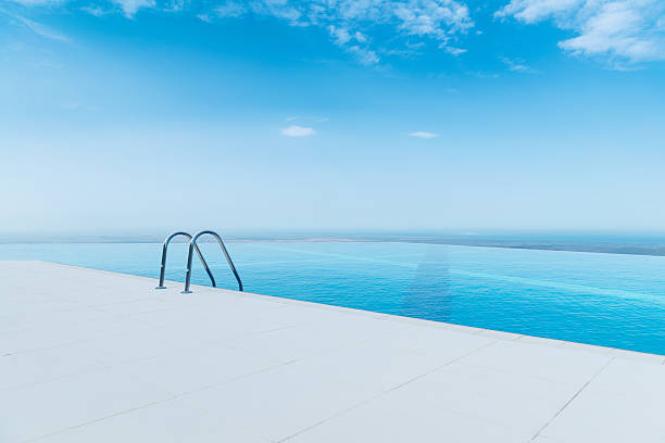 Infinity pool on the bright summer day Infinity pool on the bright summer day poolside stock pictures, royalty-free photos & images
