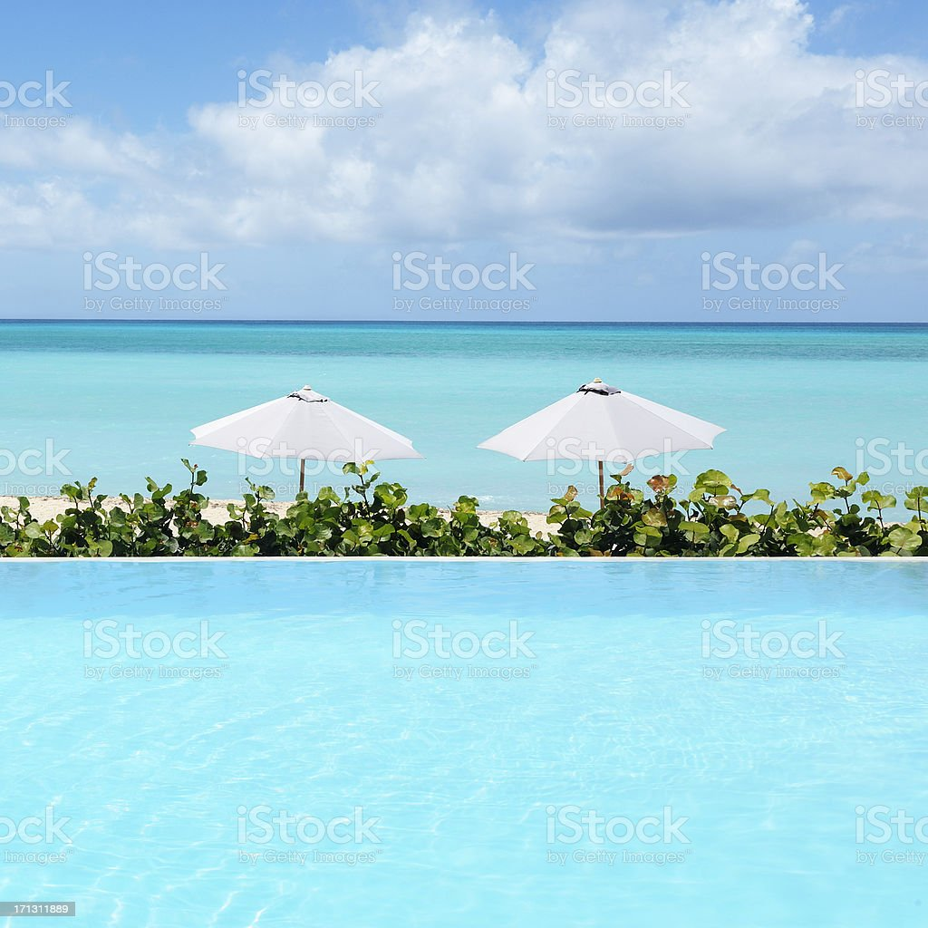 Infinity pool stock photo