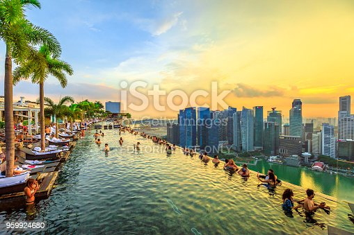 Singapore - May 3, 2018: Infinity Pool at sunset of Skypark that tops the Marina Bay Sands Hotel and Casino from rooftop of La Vie Club Lounge on 57th floor. Financial district skyline on background.