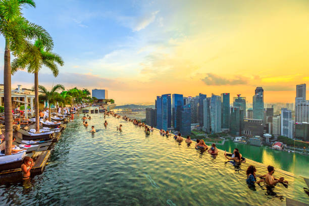 infinity pool singapore - singapore stock photos and pictures