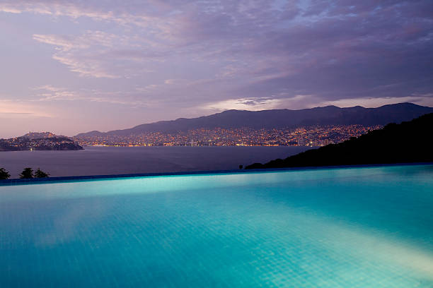 Infinity Pool View in Acapulco Mexico stock photo