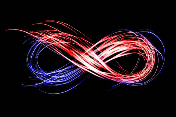 infinity sign created by neon freeze light on a black background - infinity stock photos and pictures