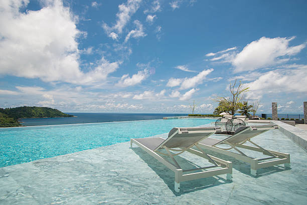 infinity swimming pool with a view on phuket sea - competition group stock photos and pictures