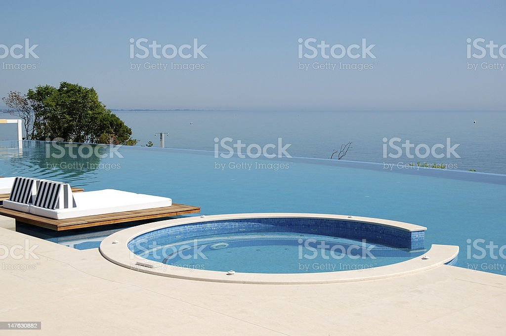 Infinity Swimming Pool With Hot Tub By Beach Stock Photo ...