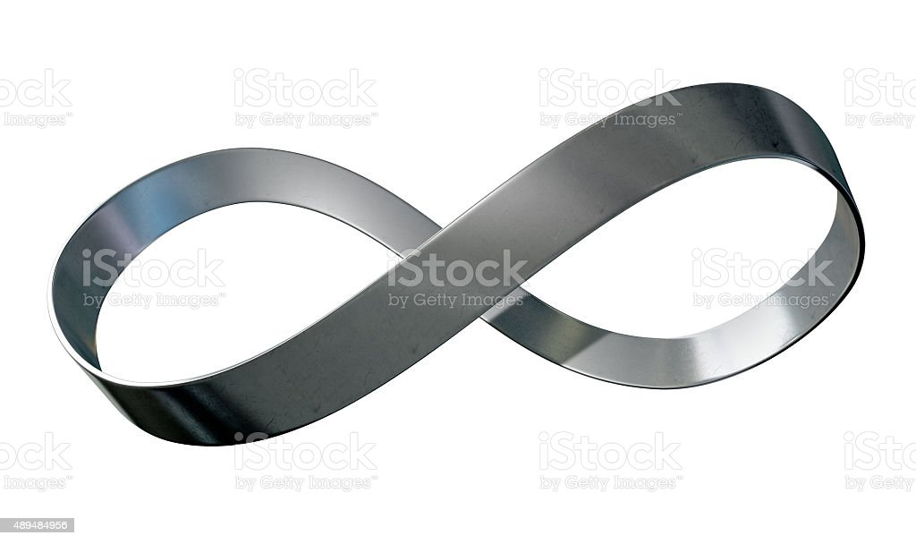 Infinity Symbol Metal Ribbon stock photo