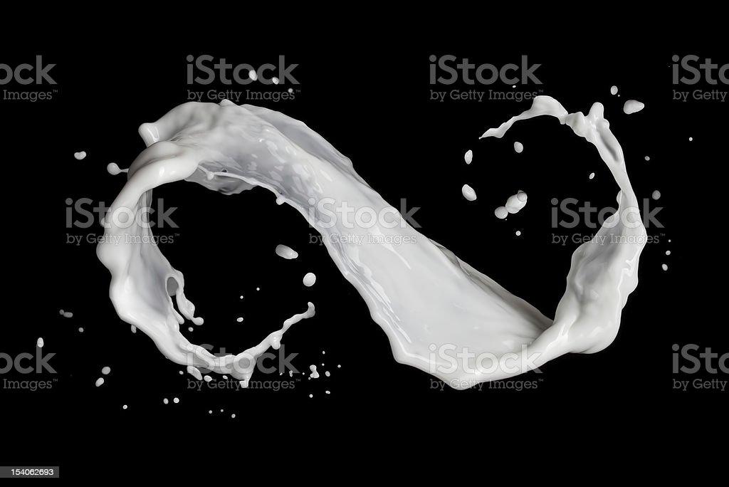 infinity symbol of milk splash isolated on black stock photo