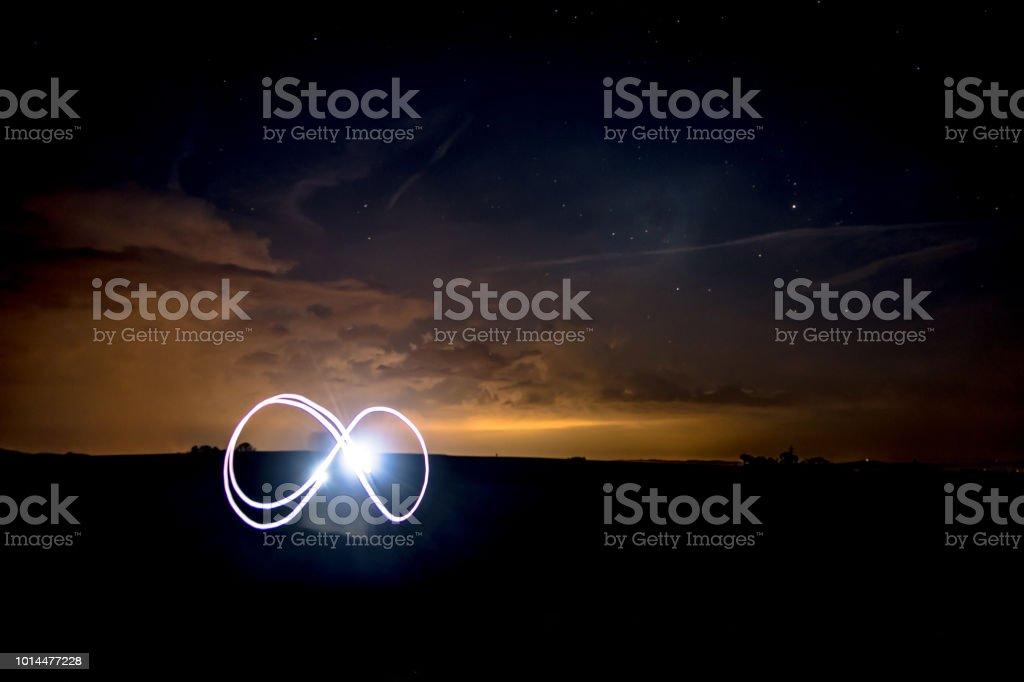 Infinity Symbol with Flashlight unter Nightsky with Stars stock photo