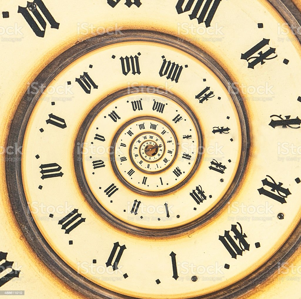 Infinity time with vintage clock. Digital generated stock photo