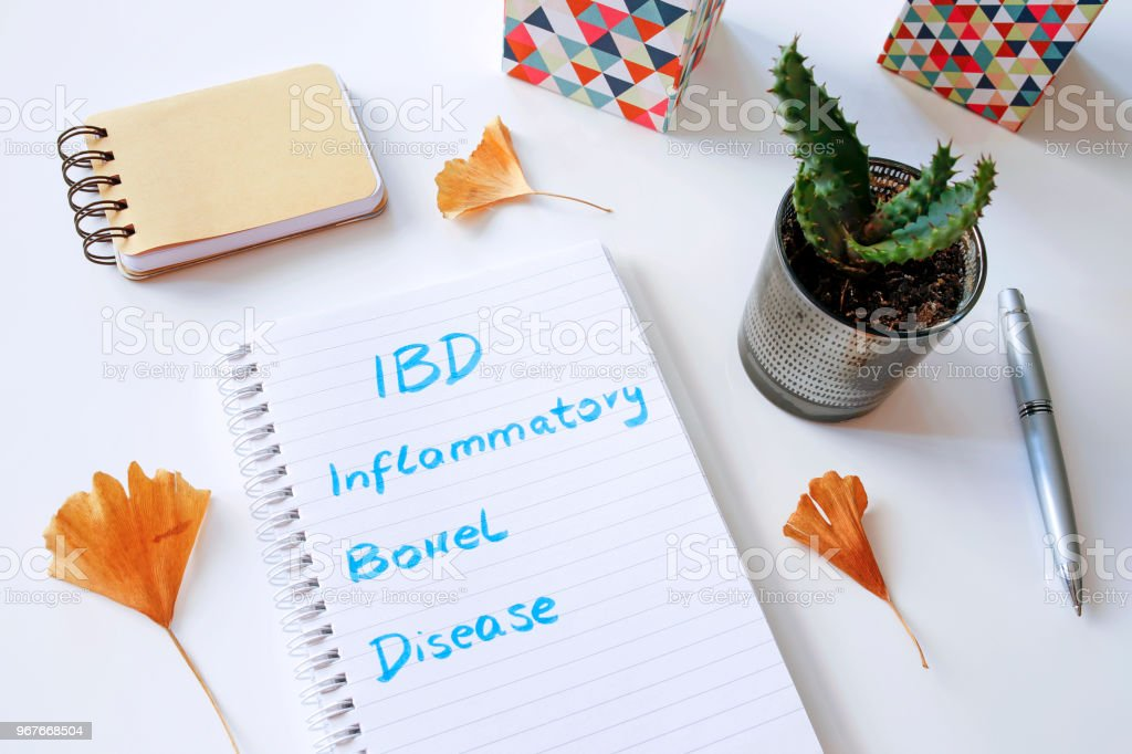 IBD Inflammatory Bowel Disease written in notebook stock photo