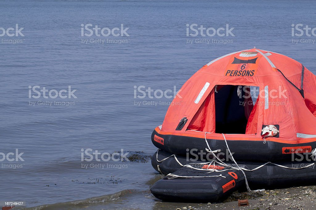 Inflatable 6 Person Life-raft stock photo