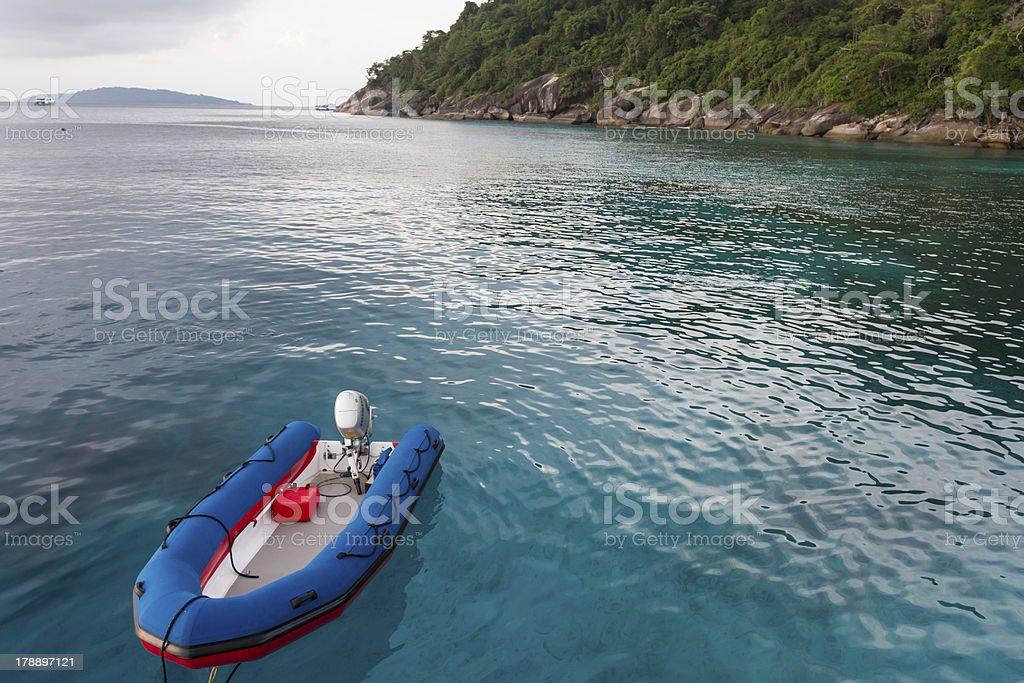 Inflatable boat at Similan island royalty-free stock photo