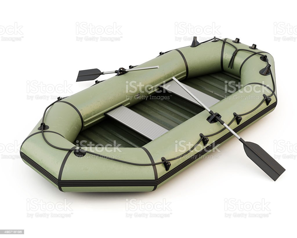 Inflatable boat isolated on white background stock photo