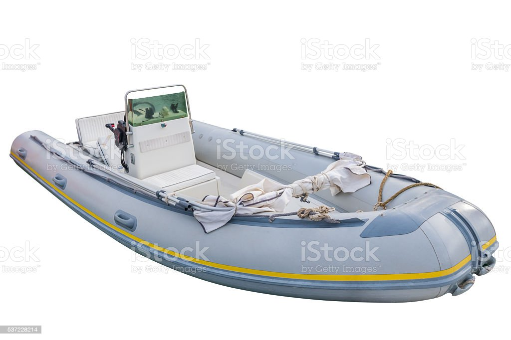 inflatable boat isolated on white background stock photo