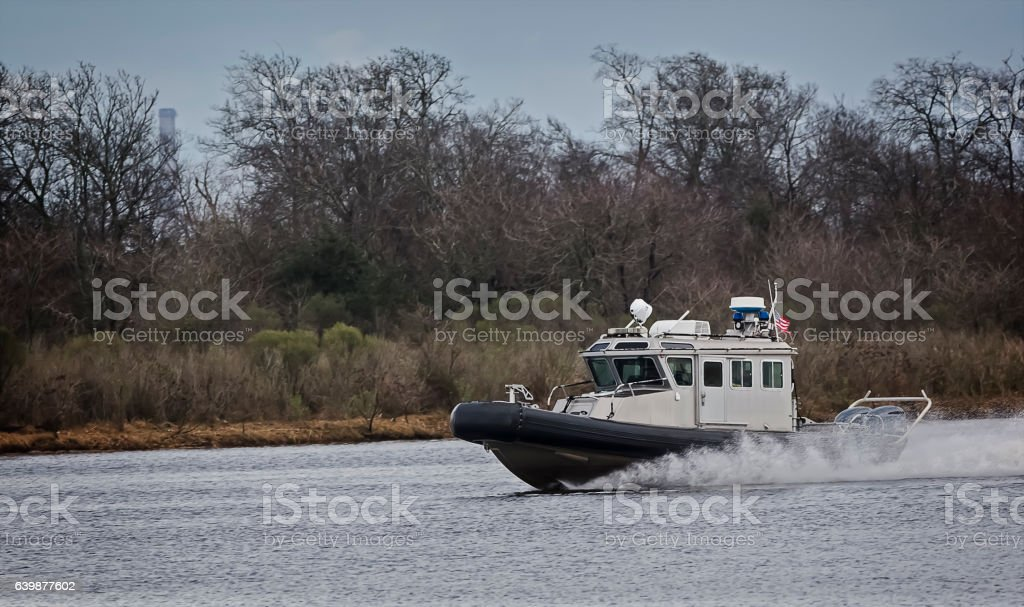Inflatable Civil Service Patrol Boat stock photo
