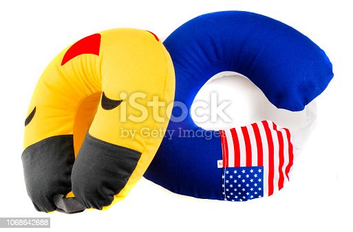 istock Inflatable cushion on the neck for transport crossings. a pleasant one made for travel. Soft, resistant velor cover. 1068642688
