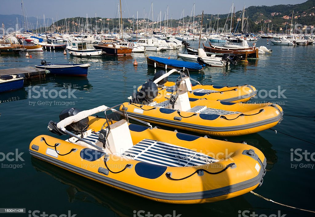 Inflatable dinghy in harbour royalty-free stock photo
