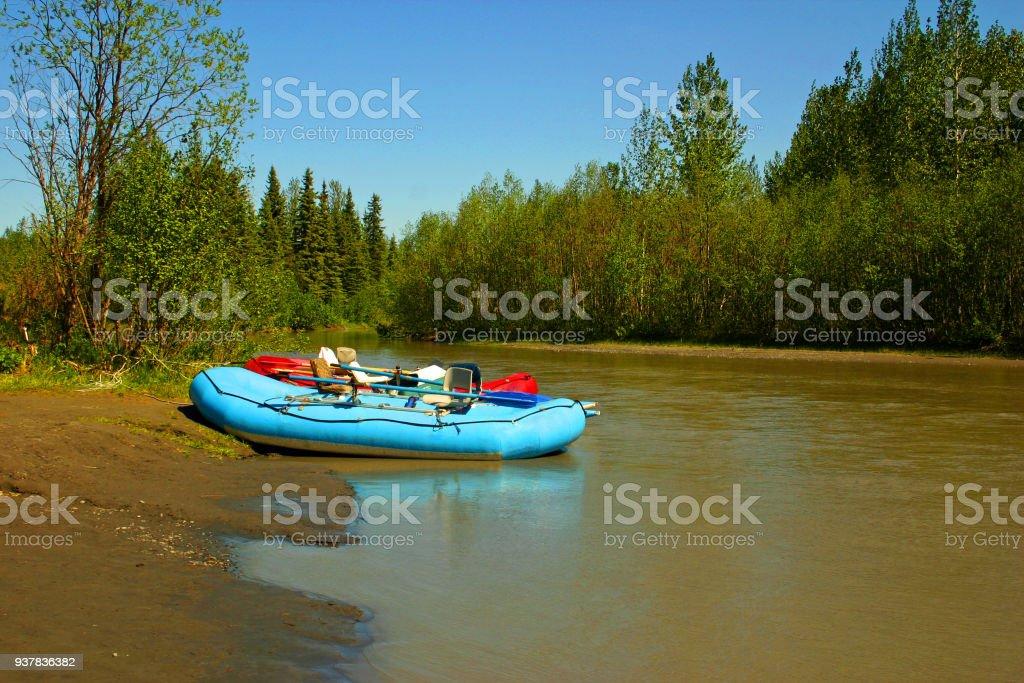 Inflatable Dinghy on the Chulitna River, Alaska, USA stock photo