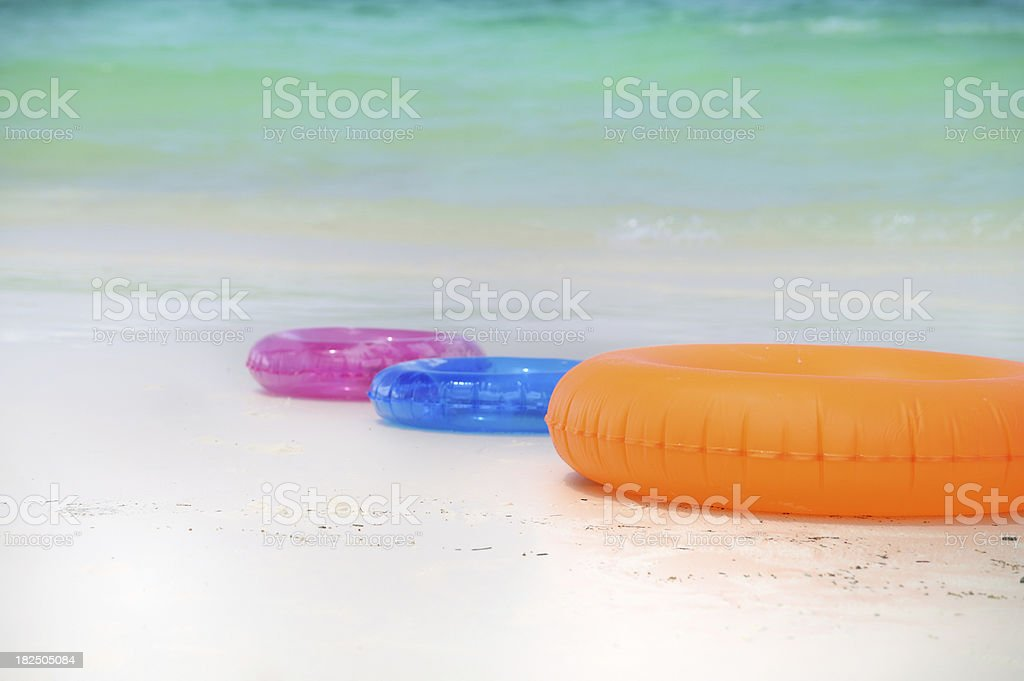 Inflatable floatation on the Beach royalty-free stock photo