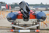image of inflatable motorboat on trailer close-up rear view