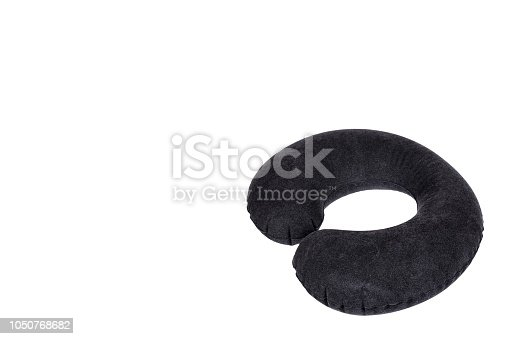istock Inflatable neck pillow for comfort travel, isolated on white background, copy space template 1050768682
