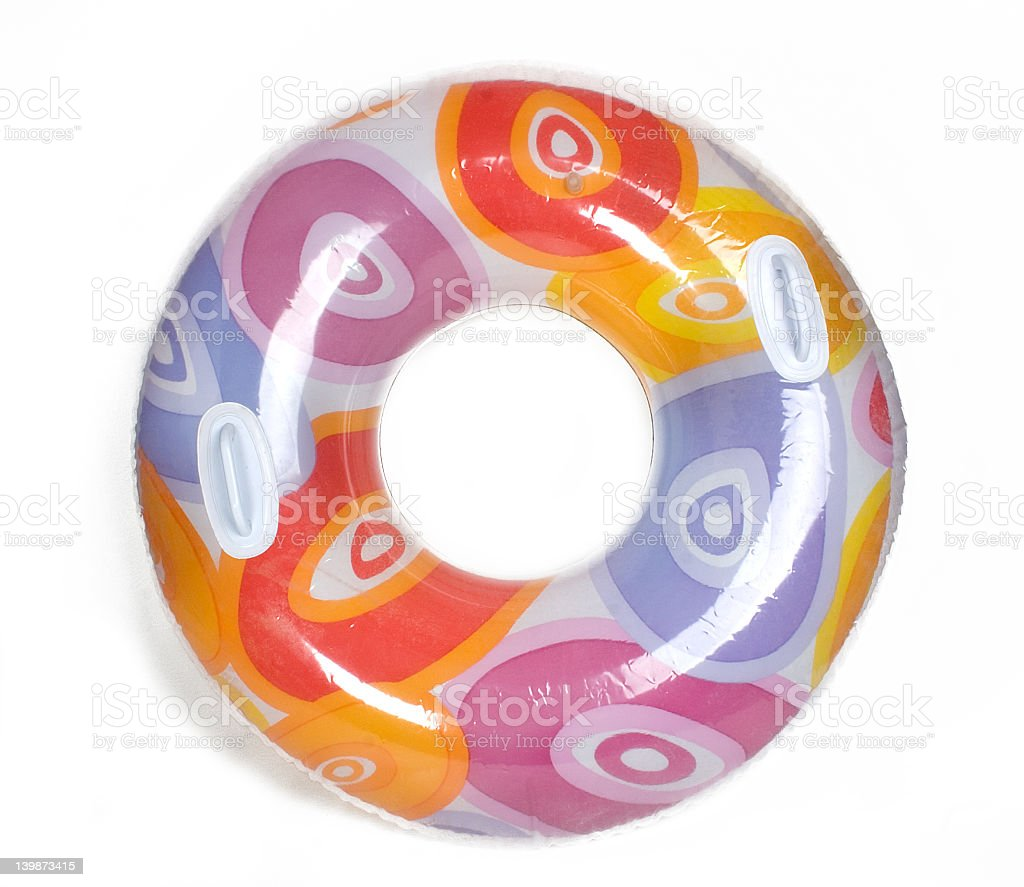 Inflatable pool donut in bright colors stock photo