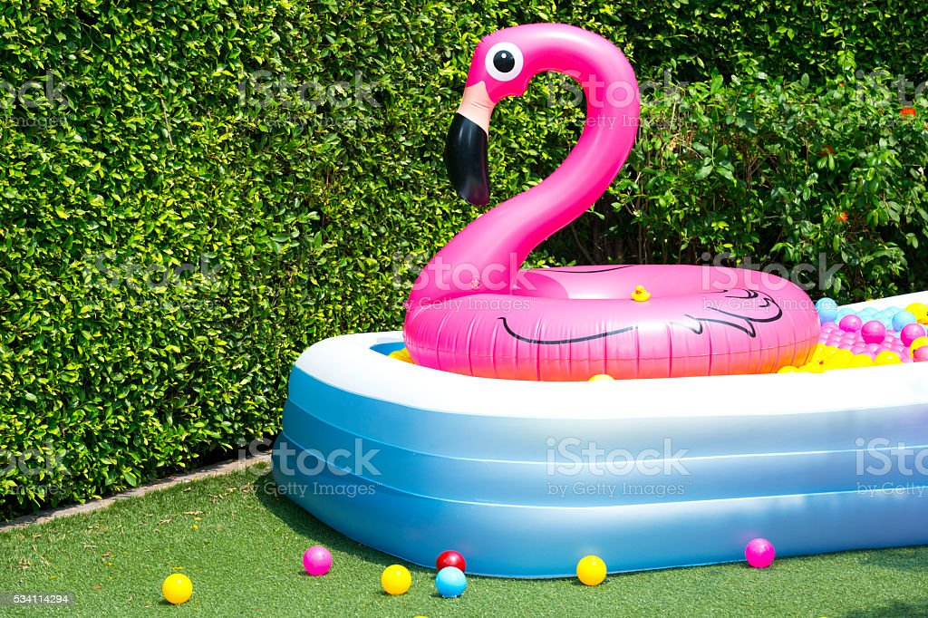 Inflatable pool with flamingo balloon in garden stock photo