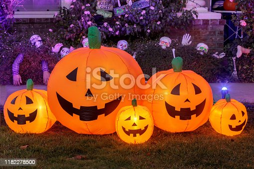Halloween background decoration outside a house front yard.