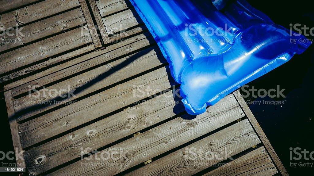 Inflatable Raft on the Dock stock photo