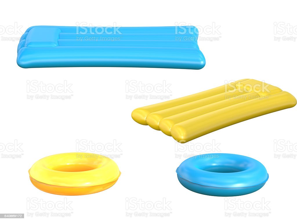 inflatable rafts and swim rings stock photo