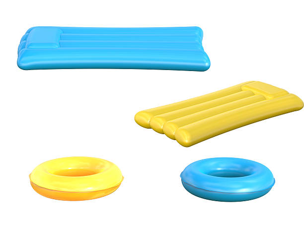 inflatable rafts and swim rings inflatable rafts and swim rings isolated on white swimming float stock pictures, royalty-free photos & images